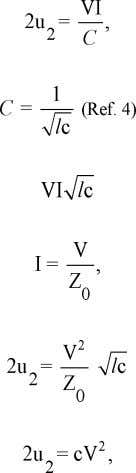 formula (3) for Zo we end up with which is twice the energy in the electric