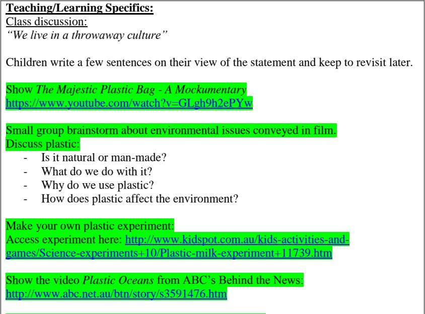 "Teaching/Learning Specifics: Class discussion: ""We live in a throwaway culture"" Children write a few sentences"