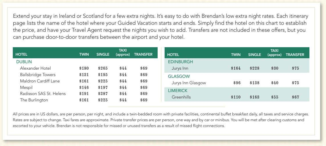 Extend your stay in Ireland or Scotland for a few extra nights. It's easy to