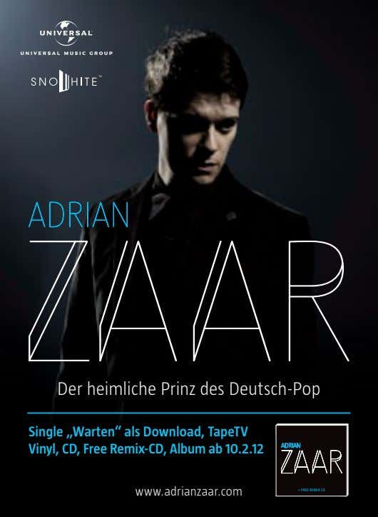 "Der heimliche Prinz des Deutsch-Pop Single ""Warten"" als Download, TapeTV Vinyl, CD, Free Remix-CD, Album"