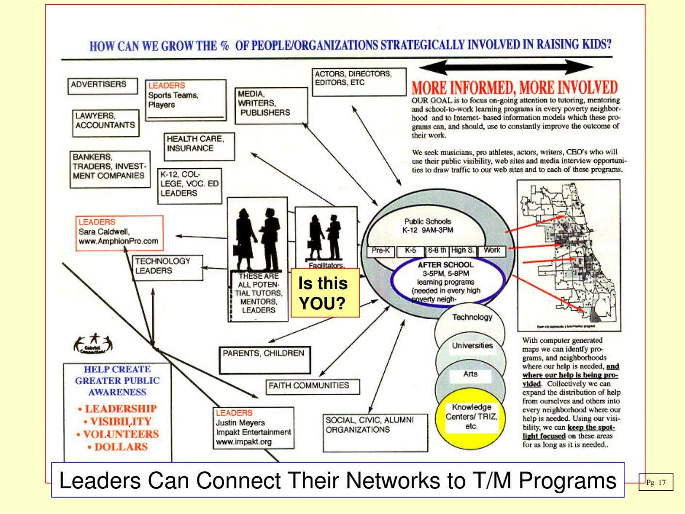 Is this YOU? Leaders Can Connect Their Networks to T/M Programs Pg 17