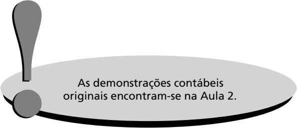 !! As demonstrações contábeis originais encontram-se na Aula 2.