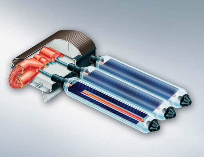 Among others, glass, copper and stainless steel are used. Fig. 26: Heat pipe vacuum tube collector