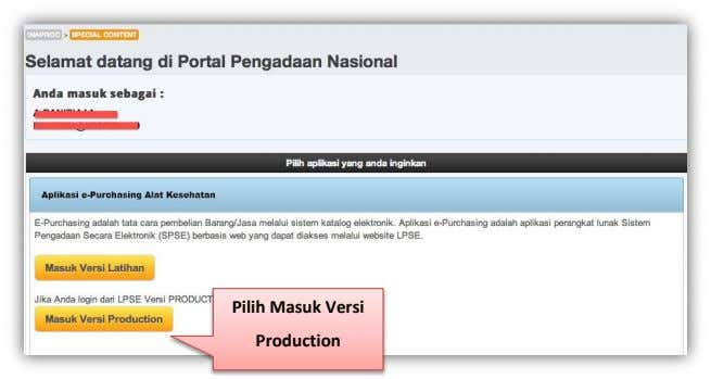 Pilih Masuk Versi Production
