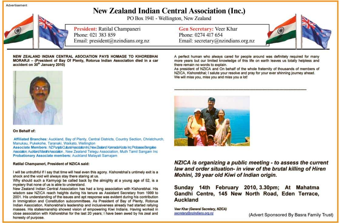 Indian Advertisement New Zealand Indian Central Association (Inc.) PO Box 1941 - Wellington, New Zealand