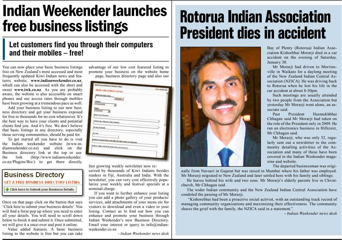 Indian Weekender launches free business listings Rotorua Indian Association President dies in accident Let customers