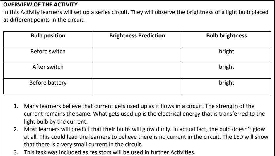OVERVIEW OF THE ACTIVITY In this Activity learners will set up a series circuit. They