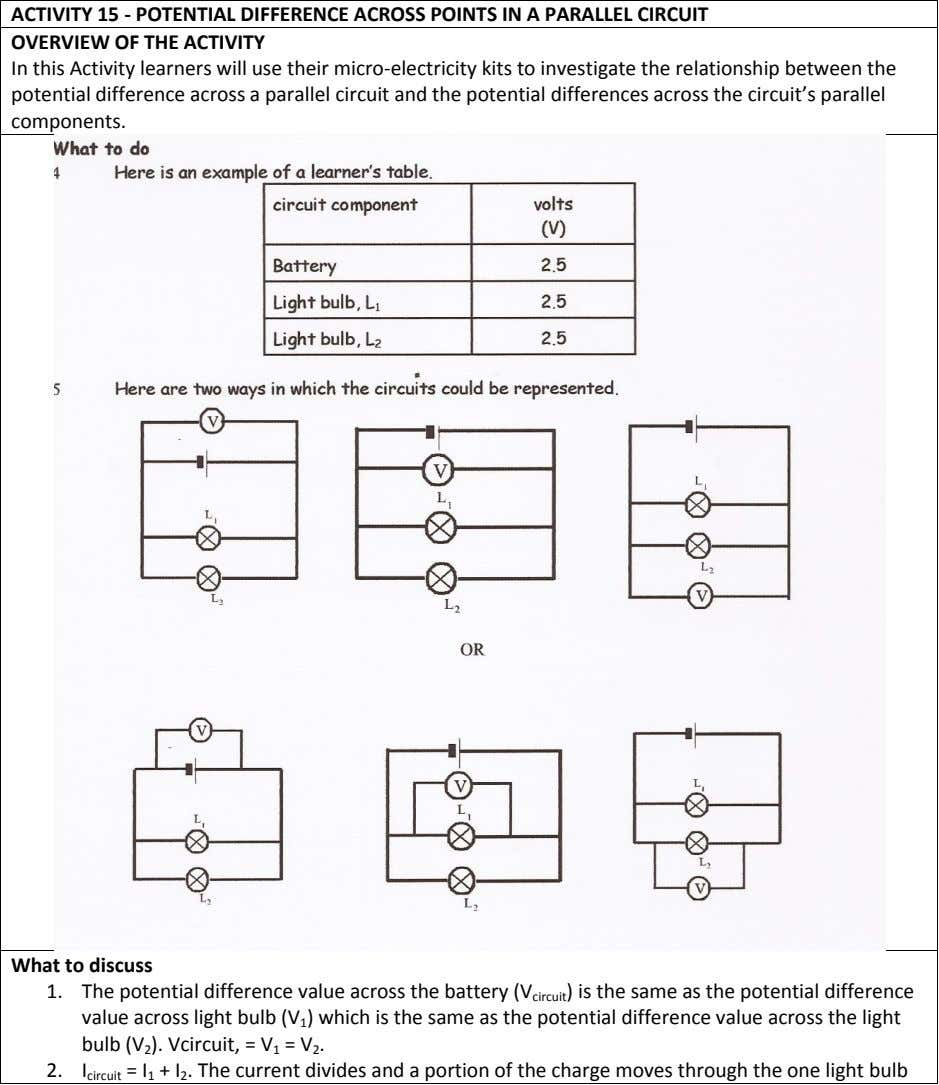 ACTIVITY 15 - POTENTIAL DIFFERENCE ACROSS POINTS IN A PARALLEL CIRCUIT OVERVIEW OF THE ACTIVITY