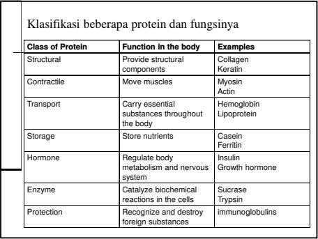 Klasifikasi beberapa protein dan fungsinya Class of Protein Function in the body Examples Structural Provide