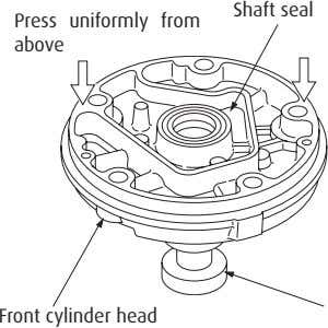 Shaft seal Press uniformly from above Front cylinder head