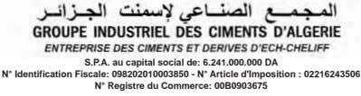S.P.A. au capital social de: 6.241.000.000 DA N° Identification Fiscale: 098202010003850 - N° Article d'Imposition