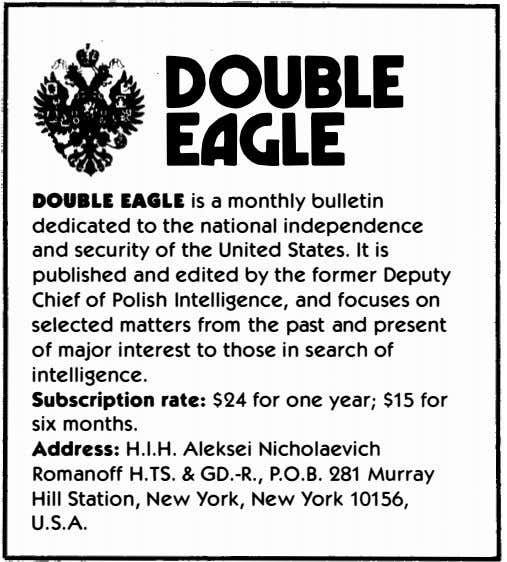'DOUBLE EdGLE DOUBLE EAGLE is a monthly bulletin dedicated to the national independence and security