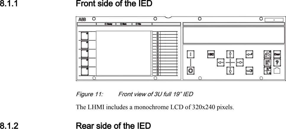 8.1.1 Front side of the IED IEC11000272 V1 EN Figure 11: Front view of 3U