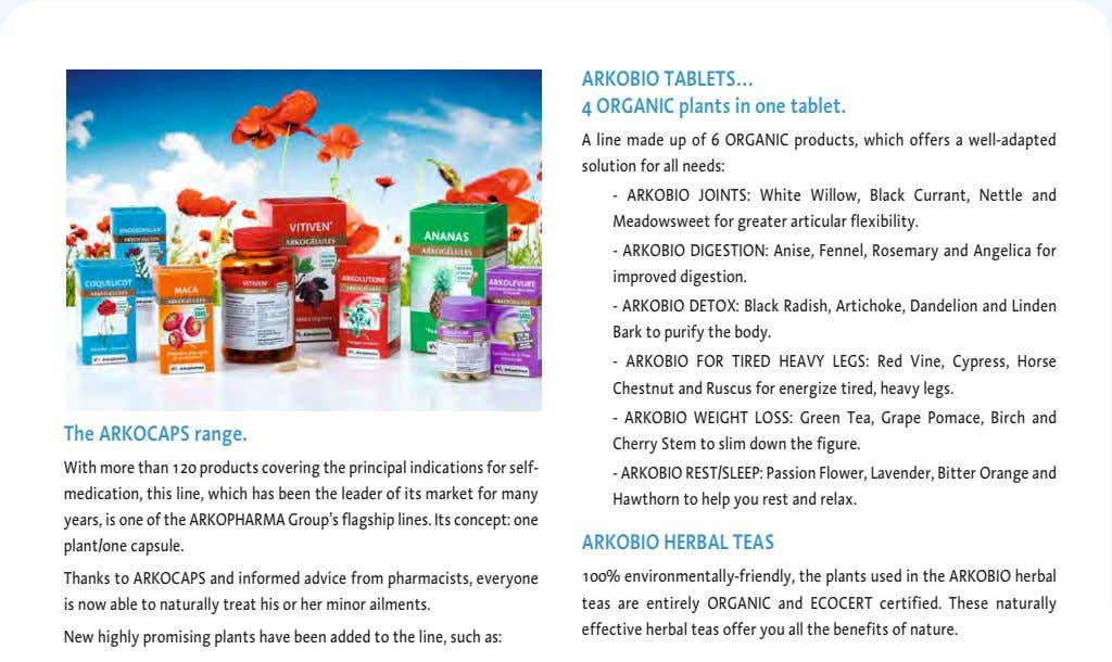 ARKOBIO TABLETS… 4 ORGANIC plants in one tablet. A line made up of 6 ORGANIC