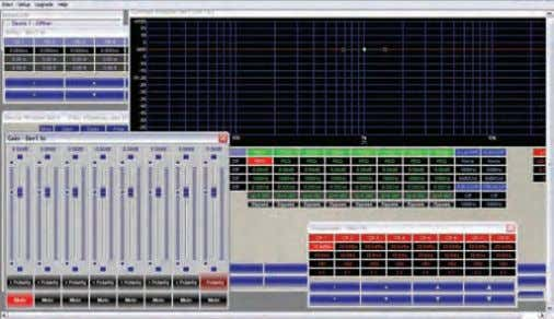 softwar e allows complete visual editing of all cr ossover points, limiters, EQs and delay settings