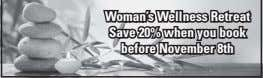 Woman's Wellness Retreat Save 20% when you book before November 8th