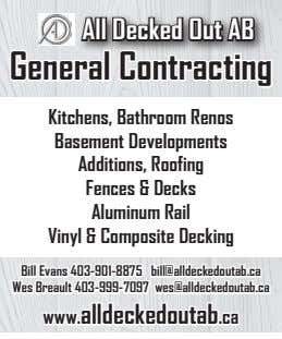 All Decked Out AB General Contracting Kitchens, Bathroom Renos Basement Developments Additions, Roofing Fences &