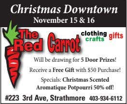 Christmas Downtown November 15 & 16 Will be drawing for 5 Door Prizes! Receive a