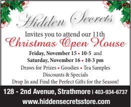 Invites you to attend our 11th Christmas Open House Friday, November 15 • 10-5 and