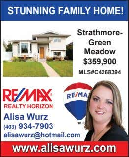 STUNNING FAMILY HOME! Strathmore- Green Meadow $359,900 MLS#C4268394 REALTY HORIZON Alisa Wurz (403) 934-7903