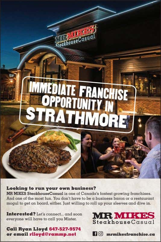 immediate Franchise Opportunity in STRATHMORE Looking to run your own business? MR MIKES SteakhouseCasual is