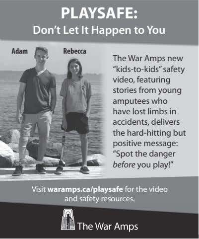 "PLAYSAFE: Don't Let It Happen to You Adam Rebecca The War Amps new ""kids-to-kids"" safety"