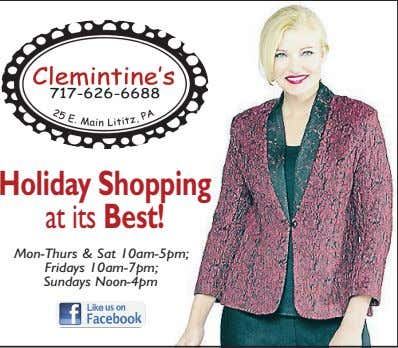 Holiday Shopping at its Best! Mon-Thurs & Sat 10am-5pm; Fridays 10am-7pm; Sundays Noon-4pm