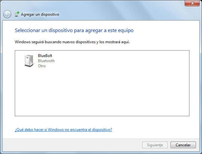 select this BlueBolt icon and continue with installation: To add the new Bluetooth device, use default