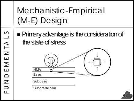 Mechanistic-Empirical (M-E) Design Primary advantage is the consideration of the state of stress HMA Base