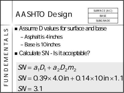 SURFACE (AC) AASHTO Design BASE SUBGRADE Assume D values for surface and base – Asphalt
