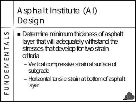 Asphalt Institute (AI) Design Determine minimum thickness of asphalt layer that will adequately withstand the