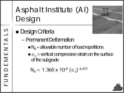 Asphalt Institute (AI) Design 0.5 inch Design Criteria – Permanent Deformation N d = allowable