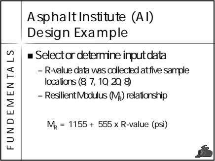 Asphalt Institute (AI) Design Example Select or determine input data – R-value data was collected
