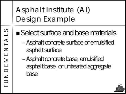 Asphalt Institute (AI) Design Example Select surface and base materials – Asphalt concrete surface or