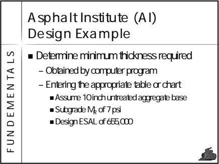 Asphalt Institute (AI) Design Example Determine minimum thickness required – Obtained by computer program –