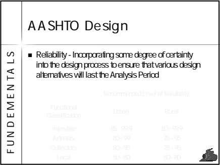 AASHTO Design Reliability - Incorporating some degree of certainty into the design process to ensure