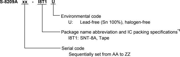 S-8209A xx - I8T1 U Environmental code U: Lead-free (Sn 100%), halogen-free Package name abbreviation