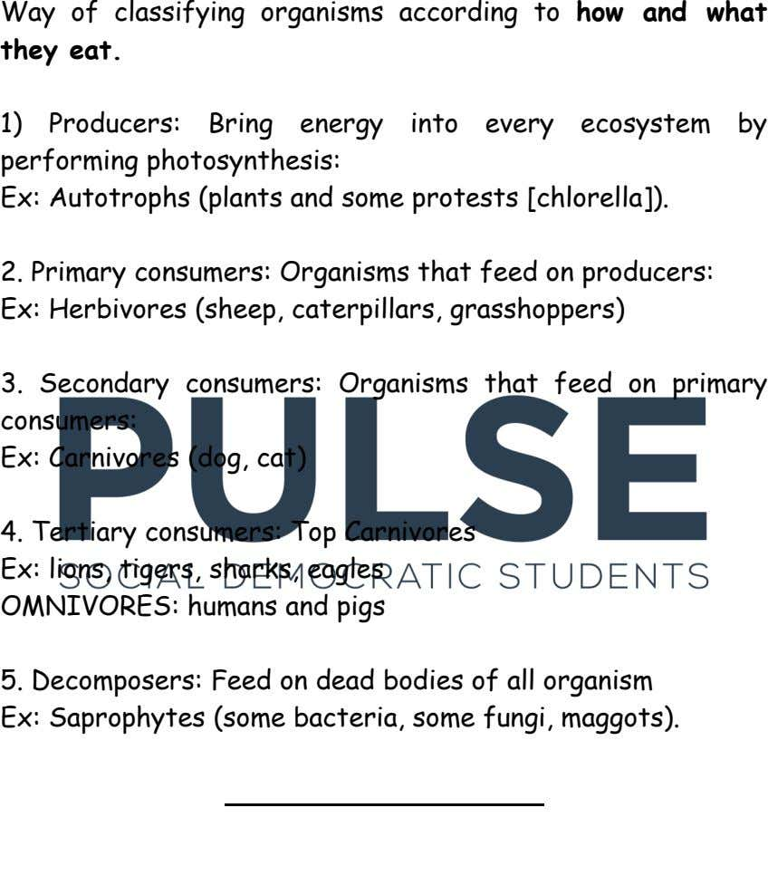 Way of classifying organisms according to how and what they eat. 1) Producers: Bring energy into