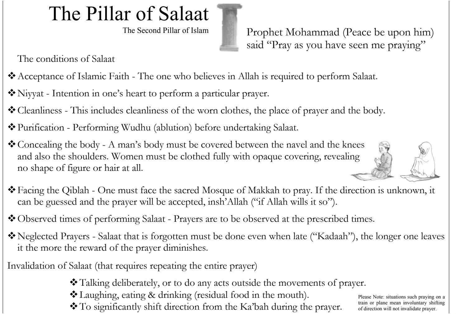 The Pillar of Salaat The Second Pillar of Islam The conditions of Salaat Prophet Mohammad (Peace