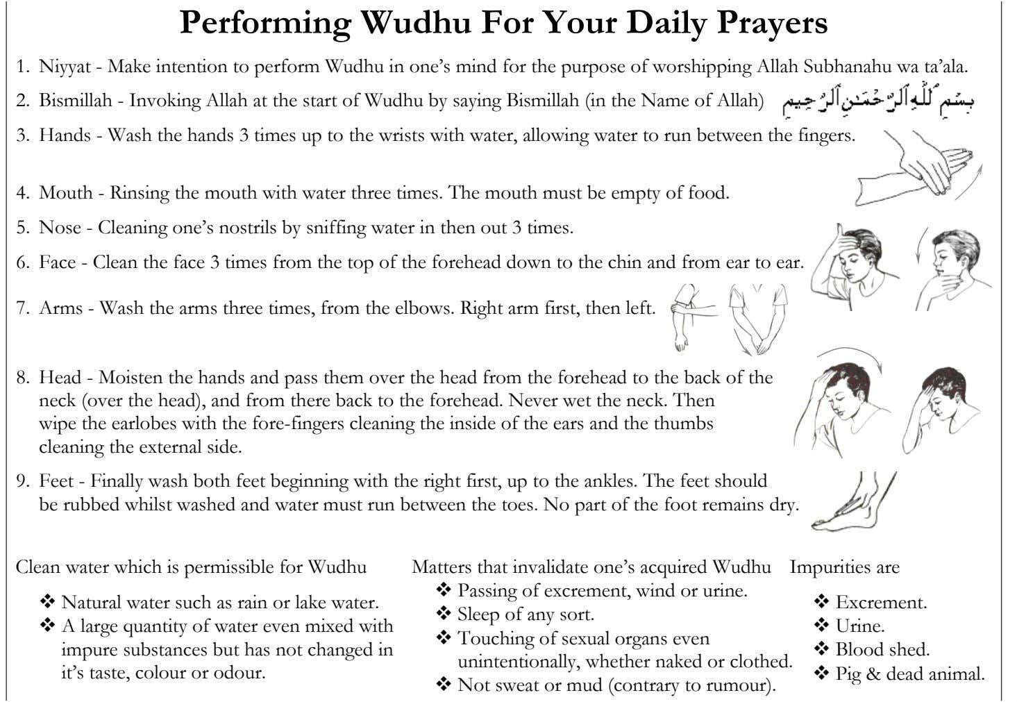 Perfo r ming Wudhu For Your Daily Prayers 1. Niyyat - Make intention to perform Wudhu