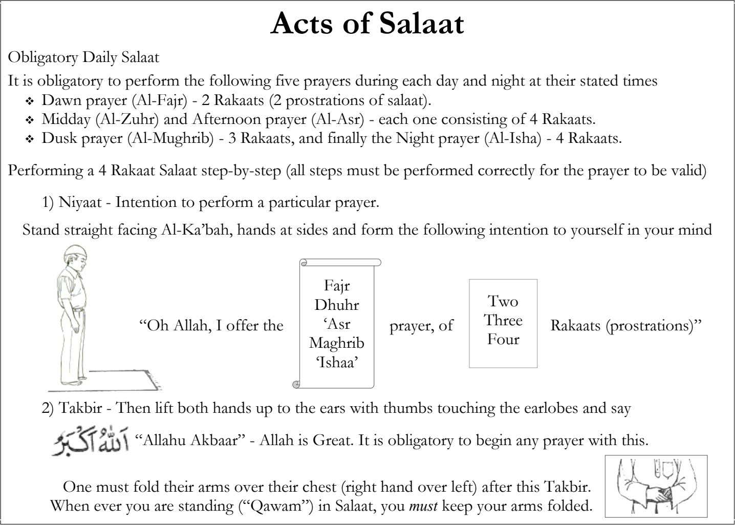 Acts of Salaat Obligatory Daily Salaat It is obligatory to perform the following five prayers during