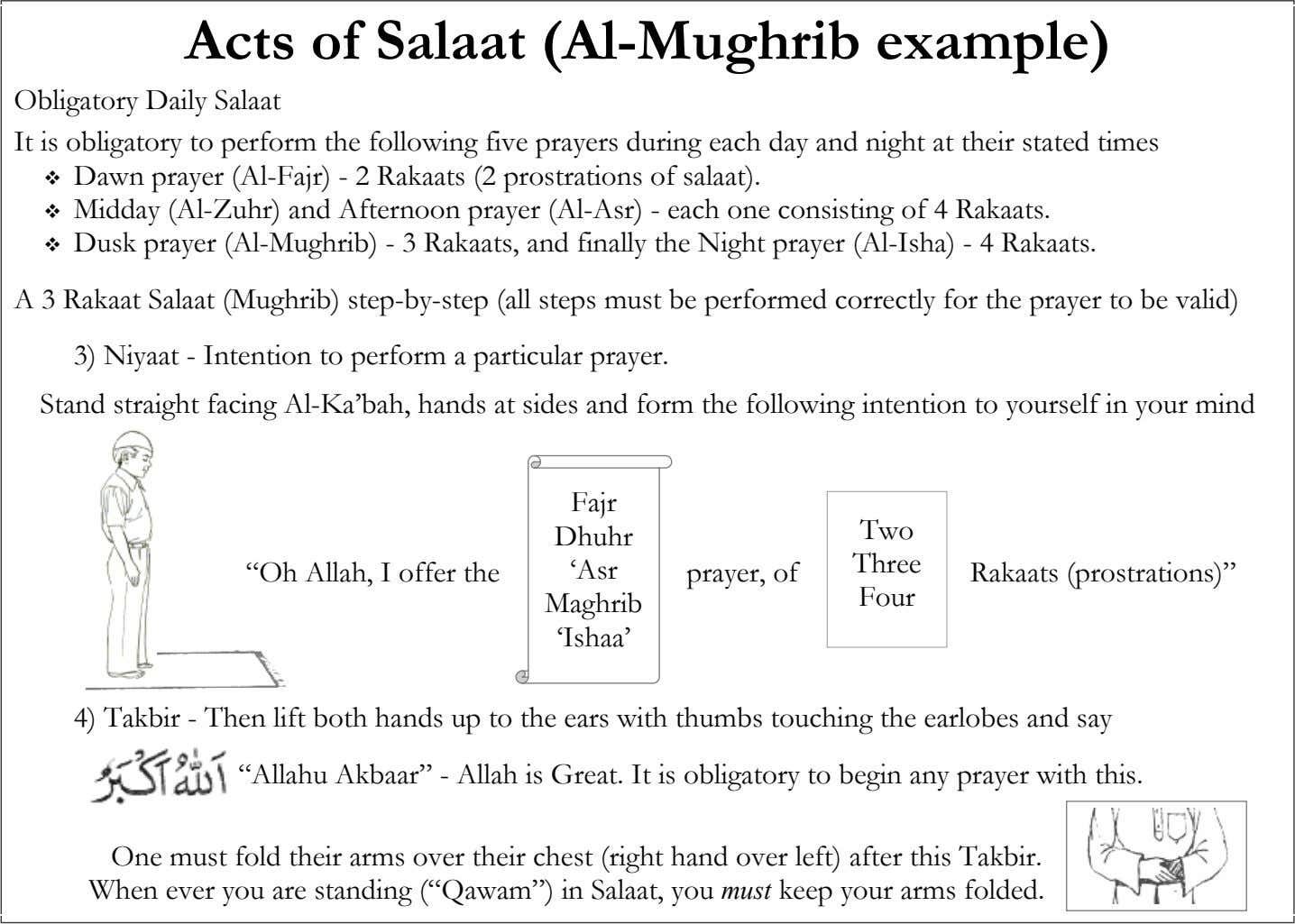Acts of Salaat (Al-Mughrib example) Obligatory Daily Salaat It is obligatory to perform the following five
