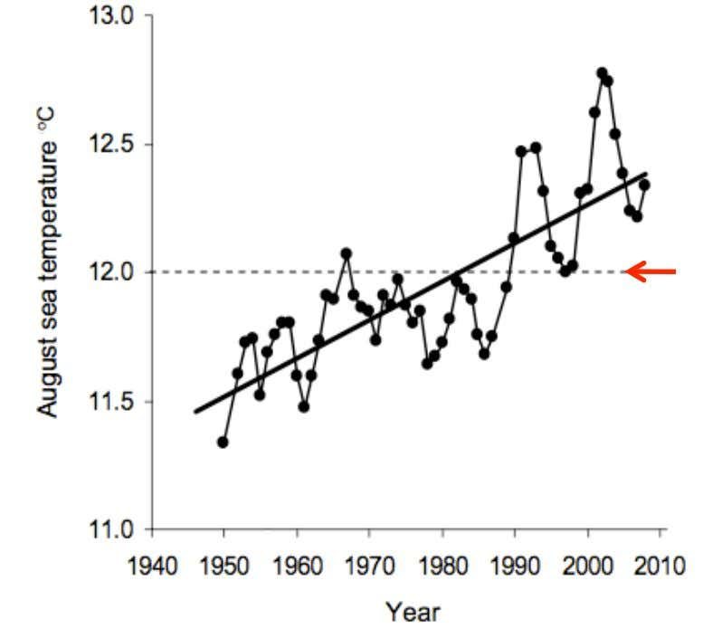 Sea surface temperature in southeastern Tasmania Sea urchins need water at least this warm to reproduce