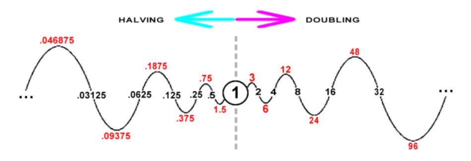projection, The Doubling Circuit makes a sine wave . The 1 is also The Decimal Point