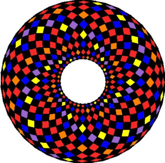 color the grid that makes up our torus in the same fashion. Top-view of torus showing