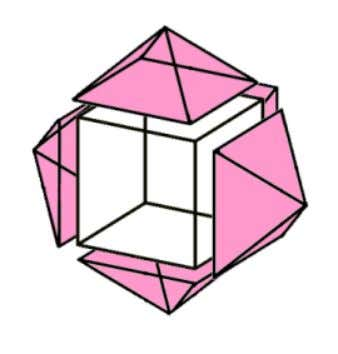 This makes another shape called a rhombic dodecahedron. 5 pyramids connecting to a cube. One pyramid