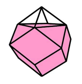 Rhombic dodecahedron with 1 pyramid removed to show how cube is contained inside it. Why