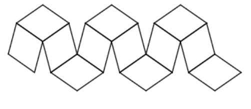 made of rhombi and it has 12 of them like a dodecahedron. (Image from Wolfram Mathworld
