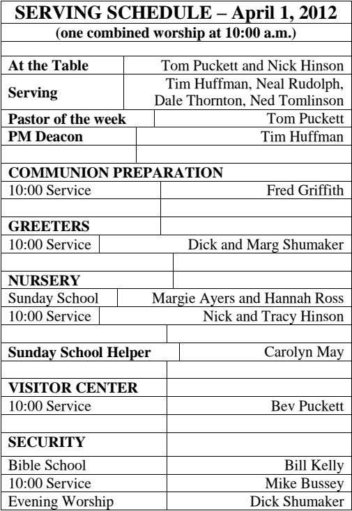 SERVING SCHEDULE – April 1, 2012 (one combined worship at 10:00 a.m.) At the Table