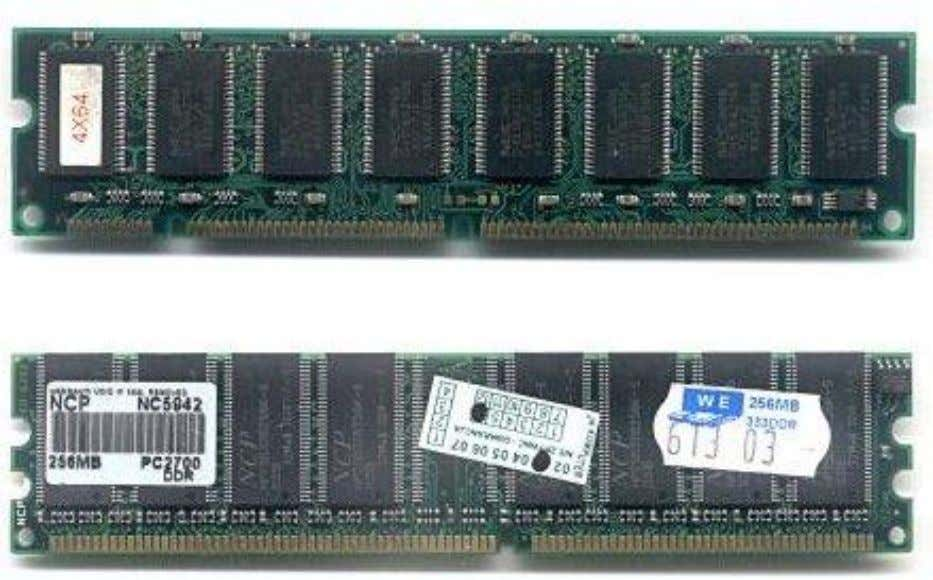 • Typical DIMM package (using DDRAM): Memory size: 256MB • Pins:168 pin